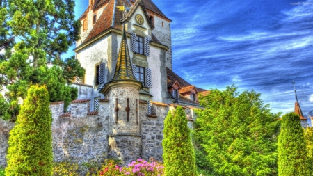 castle hdr - building, walls, clock, nature, trees
