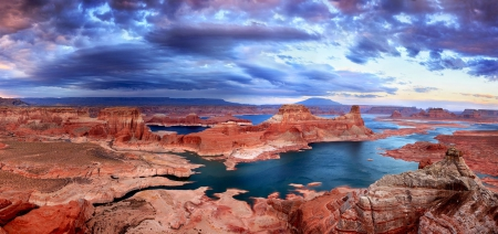 Lake Powell Panorama - reservoir, beautiful, sky, clouds, canyon, erosion, cliff, river, Arizona, reddish, blue, Utah