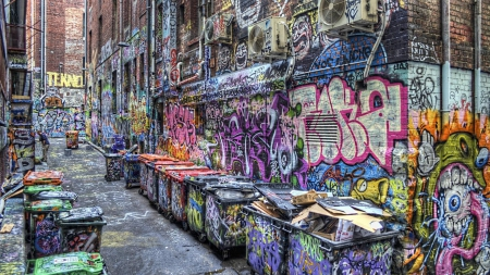 graffiti covered alley hdr - garbage, city, dumpsters, hdr, graffiti, alley