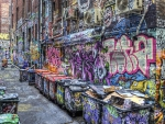 graffiti covered alley hdr