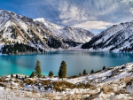 winter on an azure mountain lake