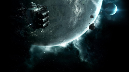 Space Trip Future 3D - solar system, planets, ships, CG, 3D, space