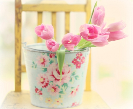 Still Life - with love, bucket, still life, pink tulips, flowers, nature, petals, tulips, chair, tulip