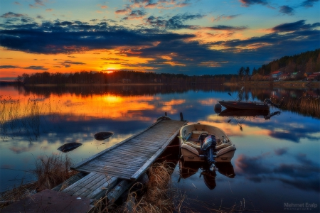 SERENE SUNRISE - silent, stunning, panoramic view, beautiful, photography, boats, waterscapes, Finland, sunrise, scenery, lakes, love four seasons, places, creative pre-made, Jyvaskyla, trees, plants, sunshine, nature, reflections