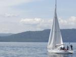 a sailing yacht on a lake