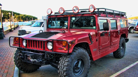 hummer h1 alpha - red, truck, parking, car