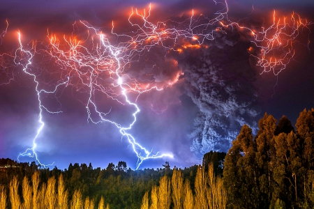 Cordon Caulle Eruption In 2011, Chile - forest, earthquake, ligthning, beautiful, volcano, rays, black smoke, nocturnal view, ashes