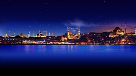stars over istanbul hdr - stars, city, starits, hdr, mosques, lights, night