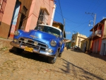 classic chevy bel air on a cuban street