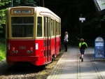 child running to a trolly