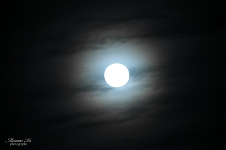 Cloudy Moon - moon, sky, clouds, night
