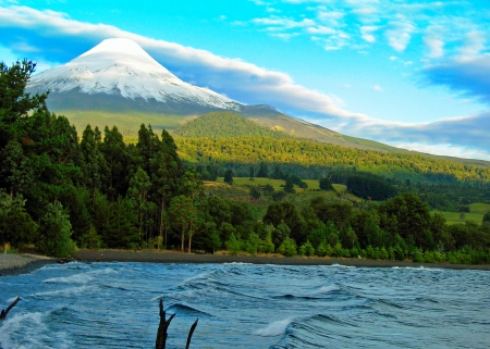 Before Sunset At Osorno Volcano - forest, snowy peak, Chile, prairies, beautiful, volcano, sky, lake