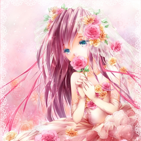 Pink Flower - pretty, dress, divine, shy, blush, beautiful, adorable, sublime, elegant, floral, sweet, blossom, nice, anime, beauty, anime girl, gorgeous, female, lovely, gown, longh iar, kawaii, girl, flower, blushing, pink hair