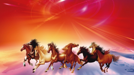 Seven Running Horses Horses Animals Background Wallpapers On