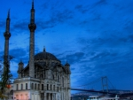 beautiful mosque under bridge in istanbul hdr