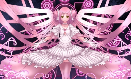 Mahou Shoujo - dress, long, magic, madoka kaname, goddess madoka, anime, madoka, beauty, long hair, mahou shoujo madoka magica, angel, gown, cute, kawaii, kaname, pink hair, mahou shoujo