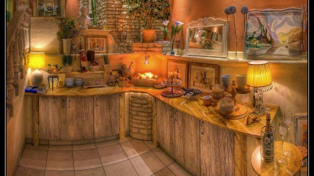 a lovely decorated buffet server hdr - house, decorated, buffet, interior, hdr, server