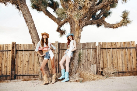 Beach Cowgirls - female, westerns, models, hats, boots, fun, trees, outdoors, fences, cowgirls, famous, fashion, style