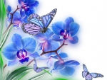 Blooms and wings in blue