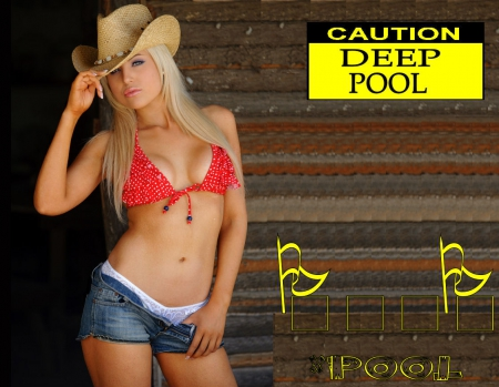Cowgirl At The Pool - female, westerns, models, hats, fun, pool, signs, cowgirls, famous, fashion, swimming, blondes, style