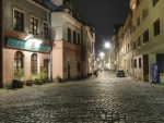 cobblestone city street late at night hdr