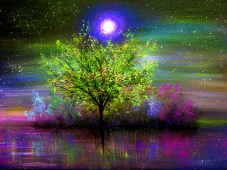 -Moonlit in Summer Night- - draw and paint, panoramic view, attractions in dreams, beautiful, most downloaded, seasons, paintings, waterscapes, landscapes, scenery, traditional art, moonlit, night, moons, lakes, romantic, colors, love four seasons, creative pre-made, trees, cool, moonlight, summer, nature