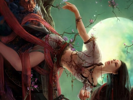 Girl on the Flower Tree - lovely, fantasy, unbelievable, green, tree, art, flower, 3d