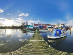 fisheye view of a lovely boat dock