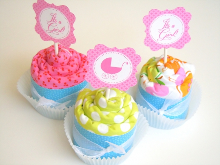 decorated cupcakes - decorated, fabric, style, others