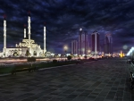 majestic mosque in grozny chechnya at night