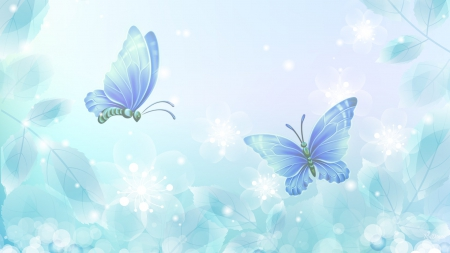 Aqua So Soft - transparent, shine, soft, butterflies, spring, abstract, glimmer, cyan, sparkle, turquoise, summer