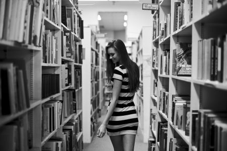 Library Girl - photo, brunette, girl, books, library, black, white