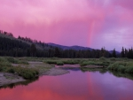 magenta sky reflected in deadwood river idaho