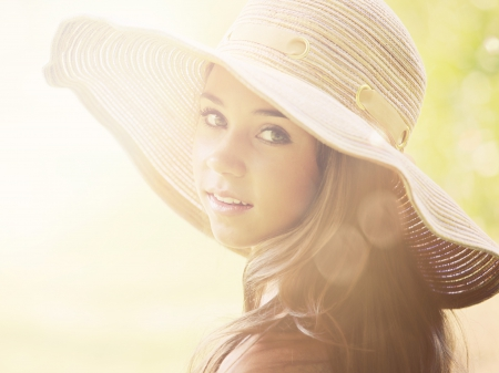 Beautiful Model - summer, face, beautiful, hat