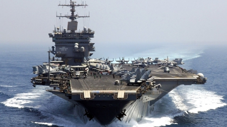 the uss enerprise aircraft carrier - wake, airplanes, ship, carrier, sea