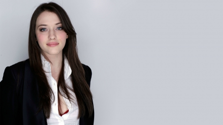 Kat Dennings - brunettes, grey background, actress, Kat Dennings, smiling