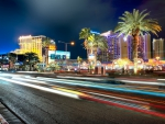 las vegas strip at night in long exposure