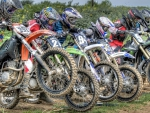 colorful start of a motocross race hdr