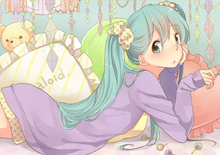 Hatsune Miku - pretty, wonderful, adorable, sweet, nice, anime, beauty, anime girl, vocaloids, long hair, lollipop, lovely, twintail, lying, amour, miku, hatsune, lay, awesome, green hair, maiden, candy, dress, divine, hatsune miku, adore, beautiful, sublime, twin tail, gorgeous, vocaloid, female, pillow, spendid, blouse, twintails, twin tails, girl, miku hatsune, lady, laying, angelic