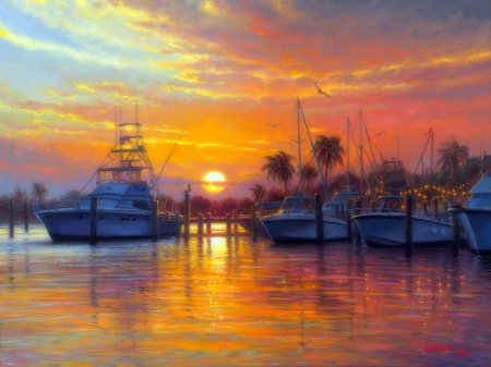✫Sunset Harbor✫ - silent, splendid, habor, perfect, attractions in dreams, beautiful, seasons, sea, paintings, boats, sunsets, scenery, quiet, sunlight, colors, love four seasons, festivals, creative pre-made, shining, bays, summer, nature, relaxing, sailboats