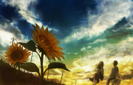 Lonely Flower - pretty, wonderful, adorable, sweet, floral, nice, onderful, love, anime, beauty, anime girl, evening, realistic, lovely, romance, sunflower, anime couple, sky, cute, lover, awesome, beautiful, blossom, painting, canvas, scenery, couple, female, cloud, romantic, spendid, kawaii, girl, dark, flower, scene