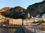 wonderful view of amalfi italy from stone wharf