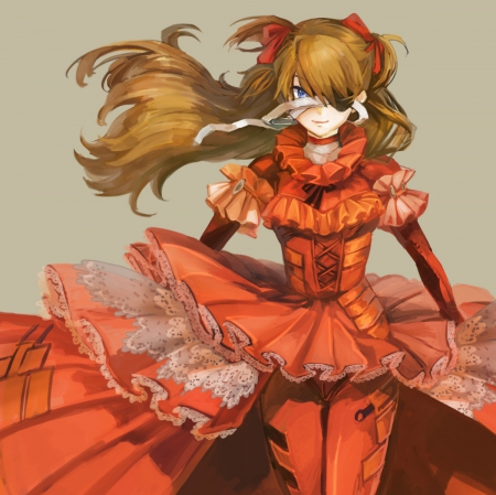 Eyepatch - pretty, wonderful, flow, orange, cg, sweet, angry, nice, emotional, anime, blowing, beauty, anime girl, eyepatch, lovely, evangelion, neon genesis evangelion, windy, awesome, serious, dress, divine, beautiful, sublime, auty, elegant, neon, gorgeous, female, blow, genesis, spendid, plain, girl, flowing, eva, simple, bandages, angelic, asuka langley soryu