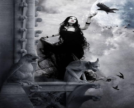 Witch And Crows - moon, dress, crows, black, woman