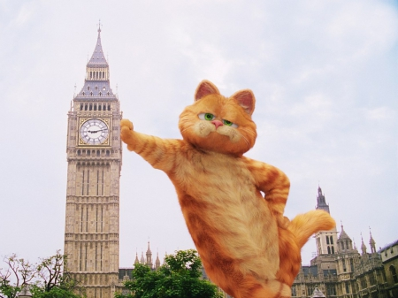 Garfield - movie, orange, ginger, cat, animal, tower, london, funny, big ben, garfield