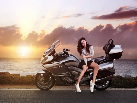 girl with bike - bmw, bikes, girls with bikes, fantasy, people, hot, beauty, bike, evening, road, actresses, sports, models female, selena, selena gomez, babe, female, babes, model, sexy, girls and bikes, cute, beautyfull, motorcycles