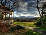 gazebo overlooking a golf course hdr