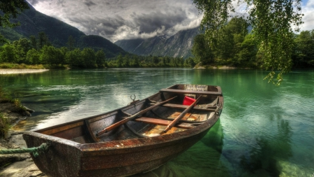 lonely rowboat on a lake hdr - rowboat, mountains, hdr, clouds, lake
