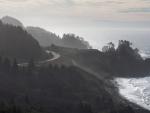 mist covered highway on oregon seacoast
