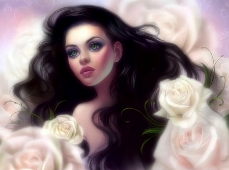 ~White Rose Princess~ - artistic, pretty, beautiful, digital art, woman, seasons, hair, paintings, beautiful girls, people, flowers, face, girls, drawings, models female, white roses, portraits, love four seasons, creative pre-made, spring, lips, weird things people wear, tender touch, lady, eyes, princess